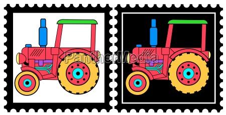 opcional ilustracion tractor sellos de graficos