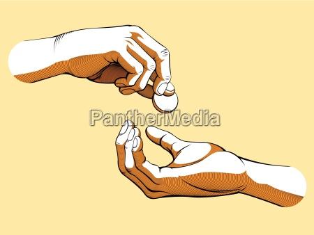 manos que dan y reciben dinero