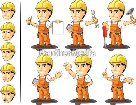 mascota del trabajador de construccion industrial
