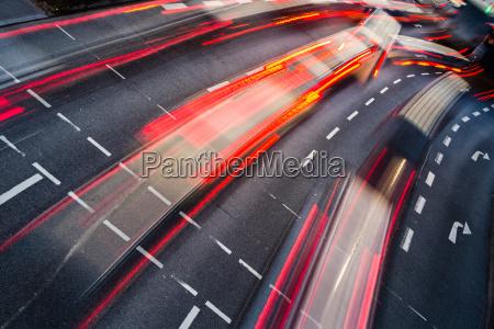 movimiento, borroso, tráfico, carretera, ciudad, - 10148007