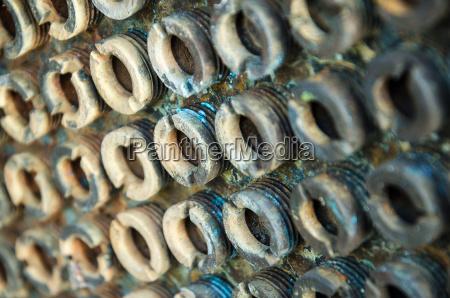 tornillo acero metal oxidado pines tuerca