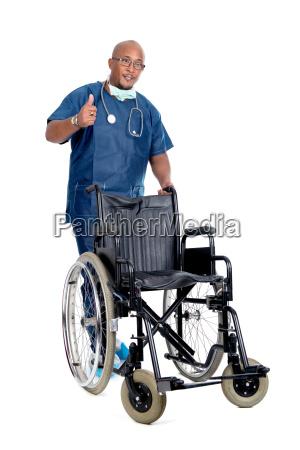 medico silla de ruedas hospital clinica