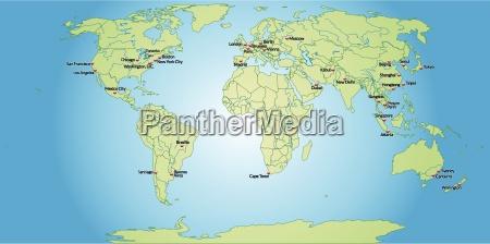mapa del mundo con mayusculas en