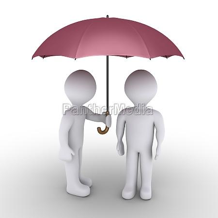 persona protegiendo con paraguas otro