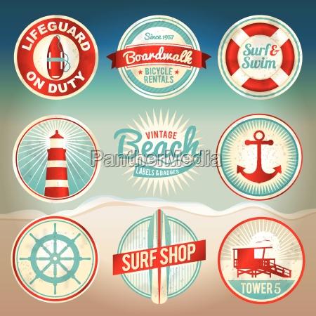 sellos y distintivos de playa vintage