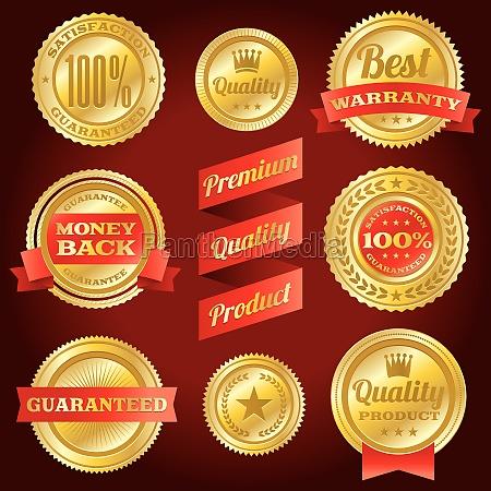 insignias y etiquetas de garantia y