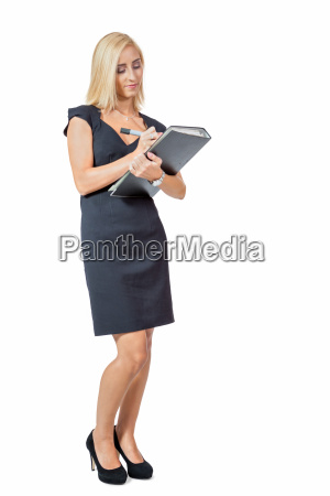 young successful businesswoman with file folder