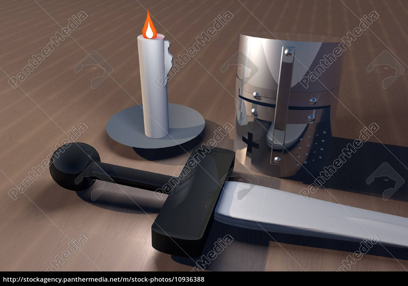 helm, , sword, and, candle - 10936388