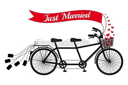 recien casado boda tandem bicicleta con