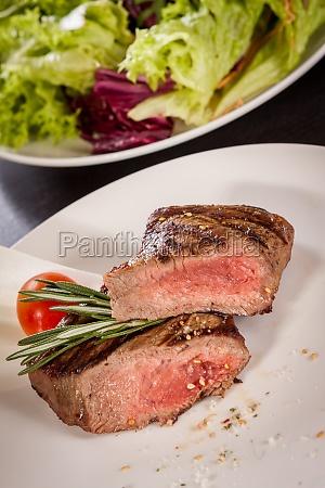 medium fried beef steak with pepper