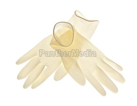 guantes de latex sobre fondo blanco