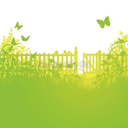 valla de jardin y puerta de