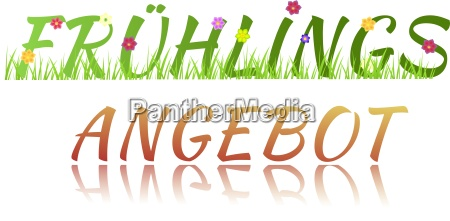 inscription spring sale with flowers grass