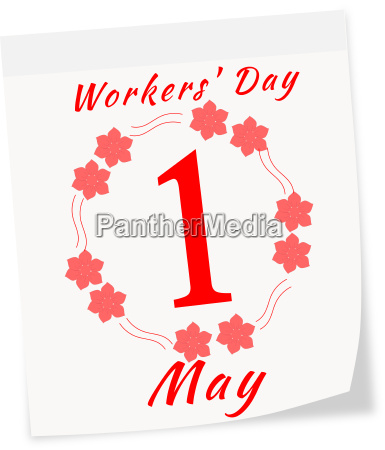 calendar page of international workers day