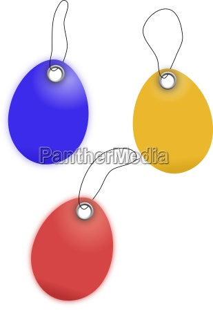illustration of egg shaped price tags