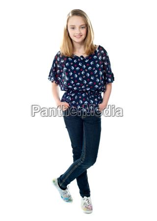 trendy casual young girl posing in