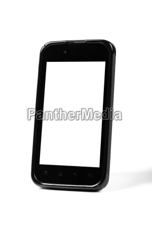 black smartphone with blank screen standing