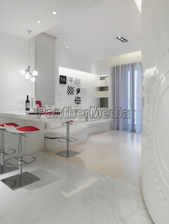 white modern living and dining area