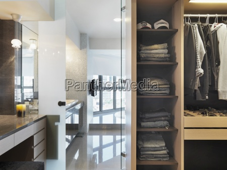 closet and vanity in modern home