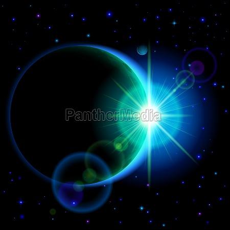 oscuro planeta con la flama