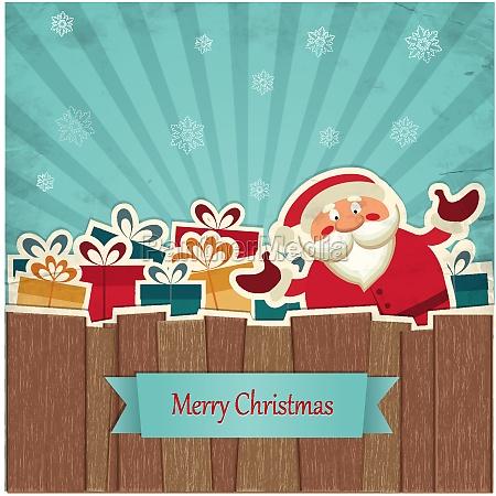 fondo de navidad retro con santa