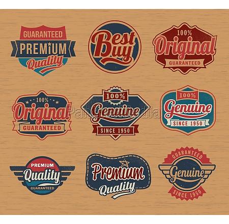 vintage insignias etiqueta retro elementos