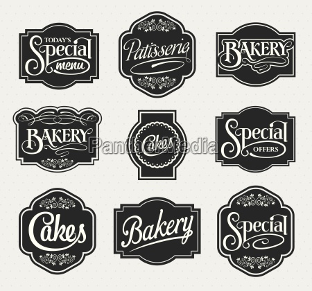calligraphic vector sign and label design