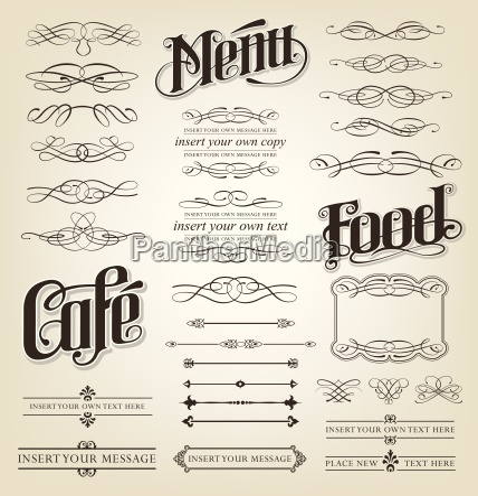 decorative calligraphic design set