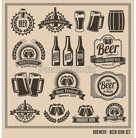 cerveza conjunto de iconos etiquetas