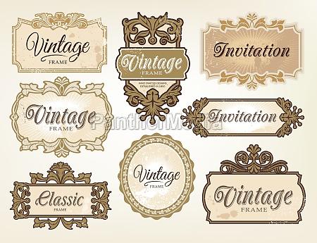 vintage retro label design set