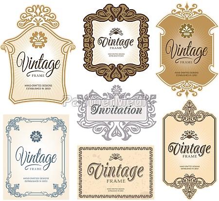 vintage retro label banner design set