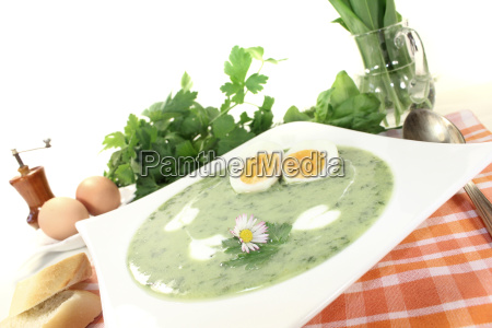 fresh herbs soup with eggs