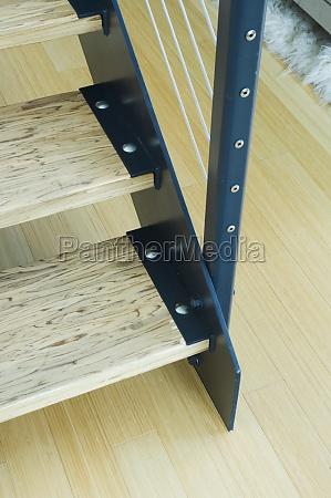 detail bottom modern wooden staircase