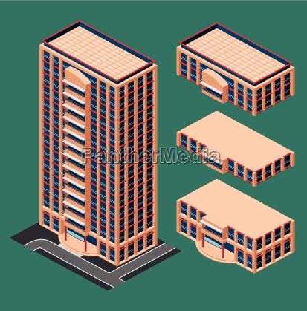 isometric modern building