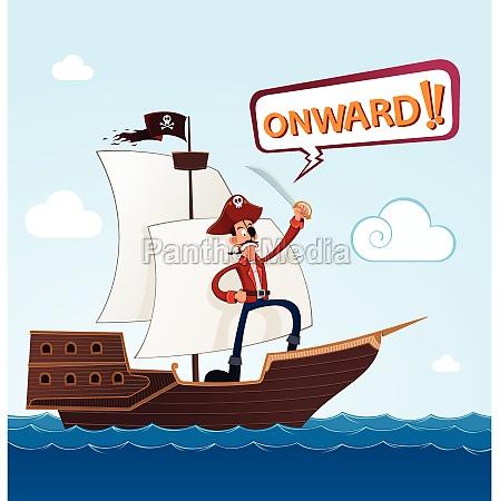 pirata en un barco de vela
