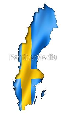 mapa de la bandera sueca