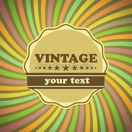 etiqueta vintage en el fondo de