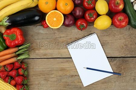 lista de compras con las frutas
