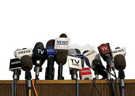 conferencia de prensa y medios de