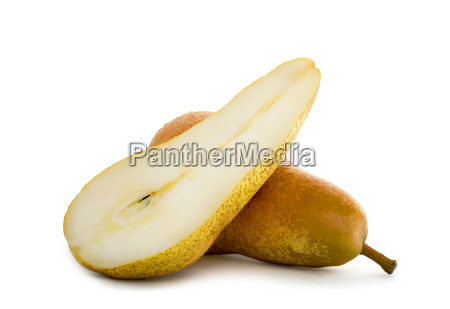 pears in slices isolated on white