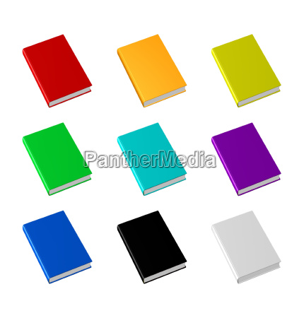 books in different colors insulated on