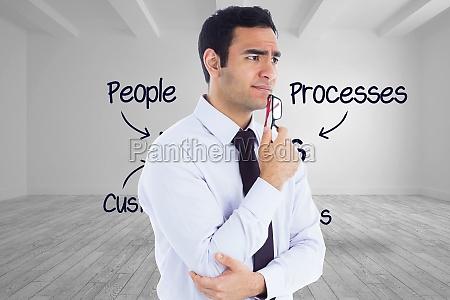 imagen compuesta de pensamiento empresario sosteniendo