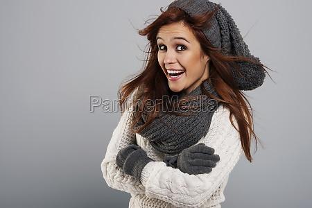 portrait of happy woman wearing fashion