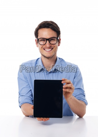 man wearning on glasses showing screen