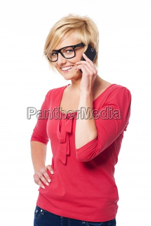happy young woman talking on mobile