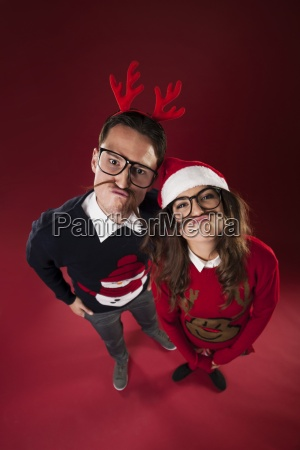 nerd couple have fun with fake