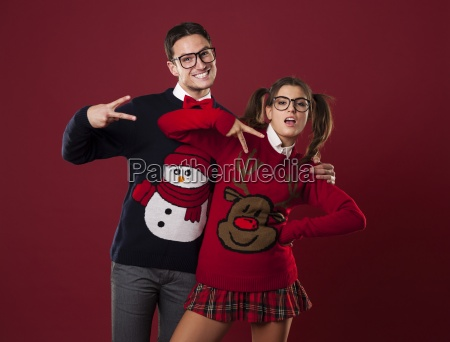 funny nerd couple pretending to be