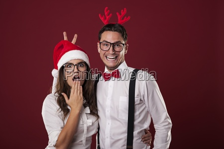 nerd couple have fun in christmas