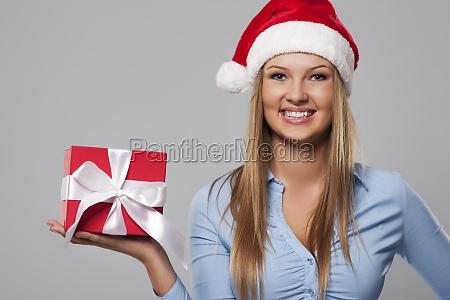 portrait of beautiful christmas business woman
