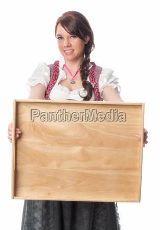 bavarian girl holding tray